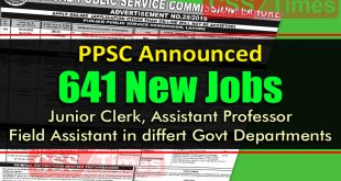 PPSC ADVERTISEMENT NO.28/2019 (642 job of Junior Clerk, Field Assistant and other)