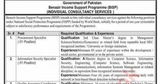 Jobs in Benazir Income Support Programme (BISP) for National Social Protection Programme